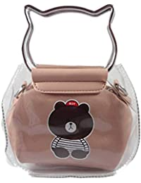 SurbhiTransparent Jelly Bag Cute Laser Crossbody Bag With Cat Metal Ear Shape Handle Waterproof Bag Women's Satchel...