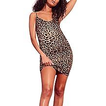 d4e0adae9f79 waitFOR Vestiti Donna Estate Corti Senza Maniche Taglie Forti Sexy Leopardo Abito  Donna Eleganti da Cerimonia