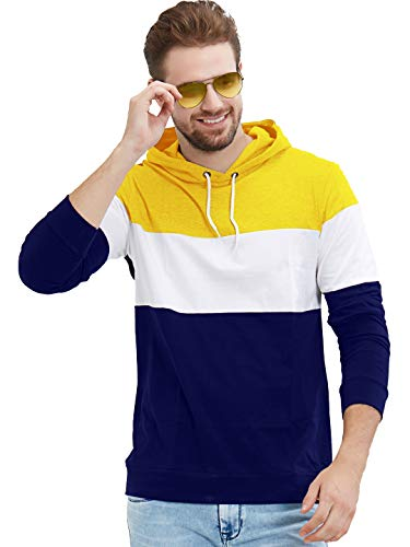 LEWEL Men Casual Cotton Regular Color Block Hooded Neck Full Sleeve T-Shirts Yellow::White::Blue Small