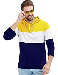 LEWEL Men Casual Cotton Regular Color Block Hooded Neck Full Sleeve T-Shirts Yellow::White::Blue