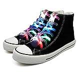 Molylove cordones de los zapatos LED se iluminan con cordones de nylon con 3 modos intermitentes de iluminación para la fiesta nocturna, hip-hop, baile, ciclismo, senderismo (multicolor)