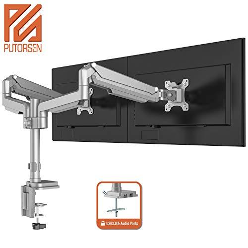 """PUTORSEN® Monitor Halterung 2 Monitore - Premium Aluminium Ergonomische Schwenkbare Neigbare Monitorhalterung für Zwei 17-32\"""" LED LCD Bildschirme - VESA 75/100 mm, 9kg/Arm (USB3.0&Audioanschlüsse)"""