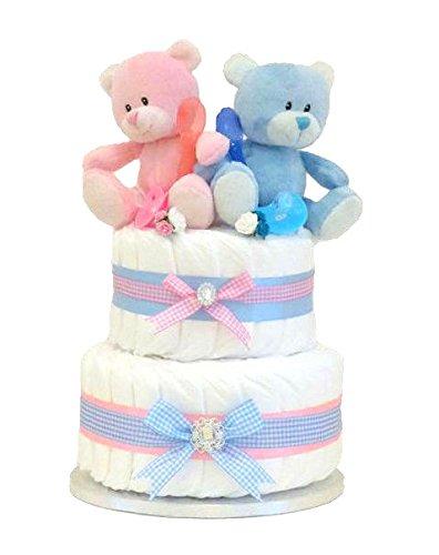 Signature Deux niveaux gâteau de couches double/Double Garçon Fille Bébé Douche cadeau/Panier/TWIN bébé/Cadeau bébé/Cadeau de douche NEW ARRIVAL/envoi rapide