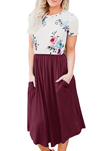 Yidarton Damen Sommer Kleid Kurzarm Blumendruck Patchwork Casual Plissee Midikleid mit Taschen, Weinrot, XL