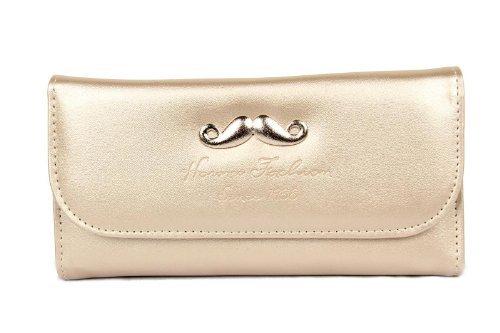 FreshGadgetz 1 Ensemble de PU souple Bavette avant la moustache Style Mesdames Wallet sac Doré