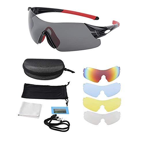 Sonnenbrille Sportbrille Reiten Sportsonnenbrille Ultraleicht Motorradbrille , Radbrille Goggles mit 5 Wechselbare Linsen Outdoor Sport Brille Ideal für Laufen Fahren Fahrrad Angeln Wandern