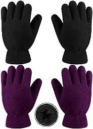 Cooraby 2 pares de guantes de forro polar para niños, guantes de invierno con forro grueso para actividades al