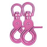 Ganzoo Scheren-Karabiner Haken mit Dreh-Gelenk/Dreh-Kopf für Hunde-Leine/Hals-Band 2er Set, legierter Stahl ? 61mm Länge, auch für Paracord 550 / Schlüssel-Anhänger, Farbe: pink