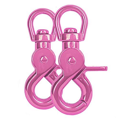 Ganzoo Scheren-Karabiner-Haken mit Dreh-Gelenk/Dreh-Kopf für Hunde-Leine/Hals-Band 2er Set, legierter Stahl ? 61mm Länge, auch für Paracord 550 / Schlüssel-Anhänger, Farbe: pink