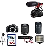 Canon EOS Rebel T6i DSLR Camera with 18-55mm IS STM + Canon EF-S 55-250mm f/4-5.6 IS STM Lens + Rode VideoMic GO On-Camera Microphone + Commander 32GB Memory Card + Tripod + LED Light + Value Bundle