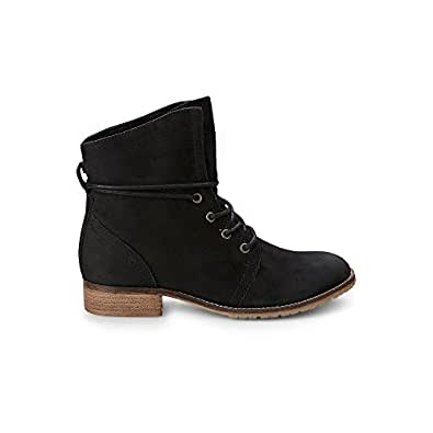 Cox Damen Schnürboots - Klassische Winter Boots - Booties - Glattleder -  Stiefel gefüttert - Profilsohle