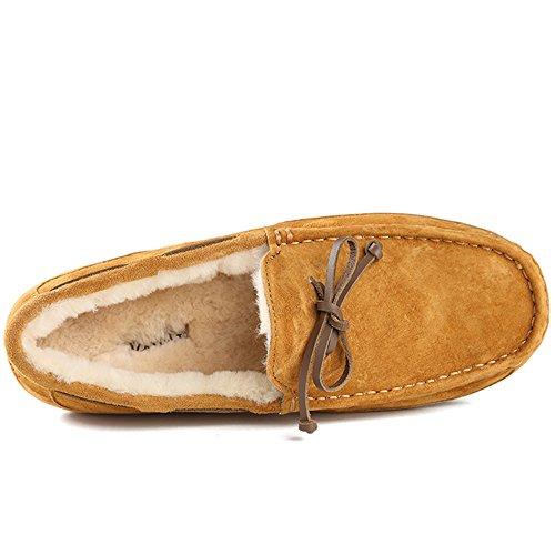 OZZEG Mocassins Slip nouveaux hommes On conduite Casual chaussures mocassin en peau de mouton laine doublure brun