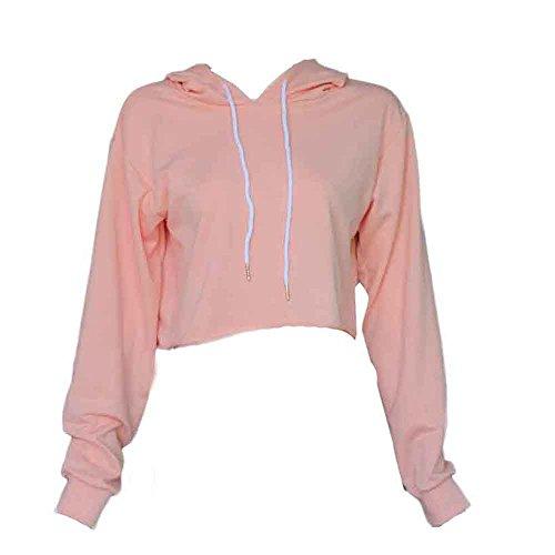 OVERDOSE Damen Hoodie Pullover Strickjacke Crop Top Coat Sport Pullover Tops (S, Rosa) (Top Tunika Graue)