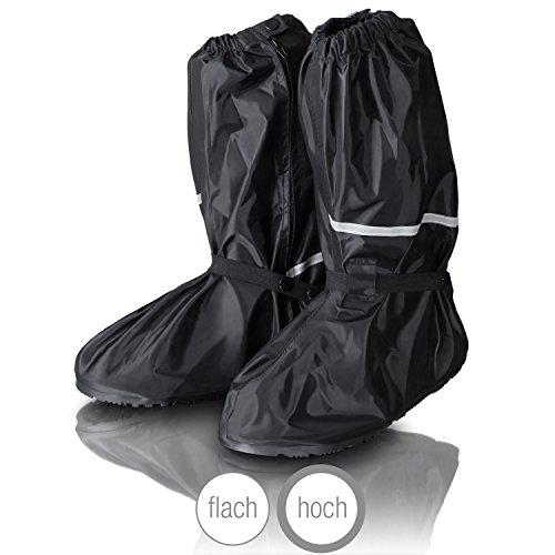 Amazy Regen Überschuhe + Gratis-Aufbewahrungsbeutel (Größe 42/43 | hoch) - wasserdichte und Rutschfeste Schuhüberzieher mit Reflektoren für trockene, saubere Schuhe auch bei Regen, Schnee oder Staub