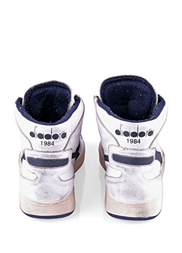 Diadora Heritage Hommes Haut Sneaker Mi Panier Utilisé 158569 Blanc - White/Corsair (C1494)