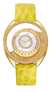 Versace Destiny Spirit Women's Quartz Watch with Mother of Pearl Dial Analogue Display and Yellow Leather Strap 82Q71SD498 S585