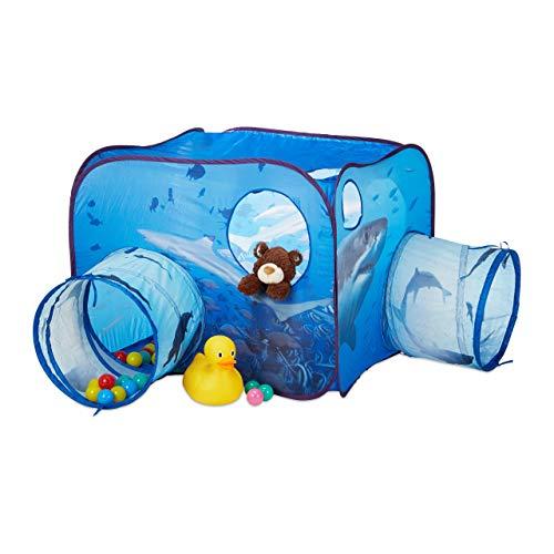 Relaxdays 10024758 Spielzelt Tunnel für Kinder, Hai-Motiv, Pop Up Kinderzelt m. 2X Krabbeltunnel, Outdoor, HBT 80x140x140cm, blau, Bälle -
