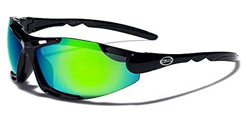 X-Loop Sonnenbrillen Mask - Radfahren - Skifahren - Tennis - Running - Motorrad / Mod Blade Schwarz Grün Iridium Spiegel