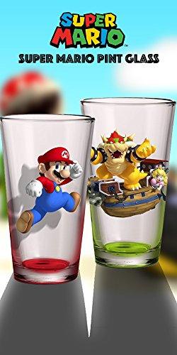 2er Pack Klauenhammer, Nintendo Offizielle Super Mario Bros. Rot Mario und Grün Bowser Premium Pint Glas Neuheit Geschenk-Set