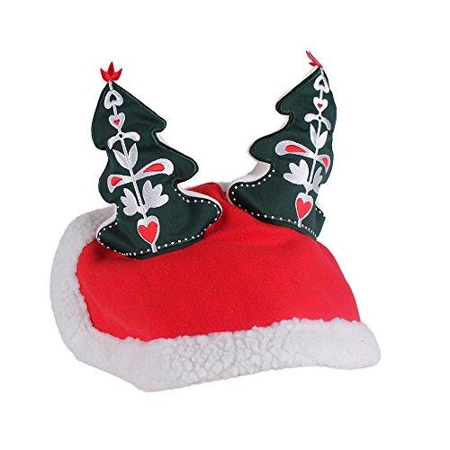 netproshop Pferde Winter Weihnachtsmütze rot mit Weihnachtsbaum Wintermütze Pony oder Full, Auswahl:Pony