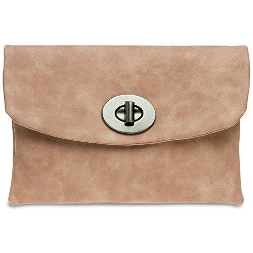 CASPAR TA339 Damen Envelope Clutch Altrosa
