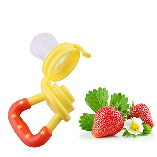 Feeder Pacifier Babyfeeder Wean Tool Infant Food Fruits Safe Baby Supplies Silicon Nipple Teething Toy Soother Teether (S, yellow)