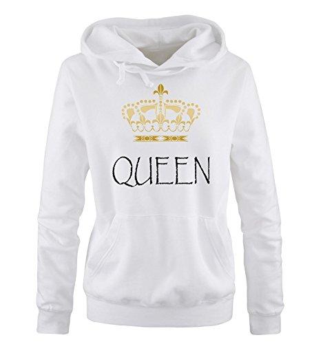 Comedy Shirts - QUEEN - Damen Hoodie - Weiss / Schwarz-Gold Gr. (Disney Prince Sexy)