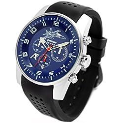 Reloj AVIADOR AV-1204 - Reloj piloto Hombre WR 5 ATM, Edición Especial 30 Aniversario Caza F-18 Ejército del Aire de España, Caja Acero quirurgico 44 mm