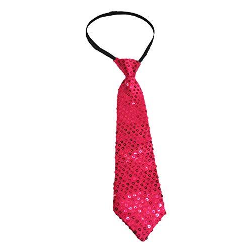 JUNGEN Corbata Informal de Hombres Corbata de Lentejuelas Brillante Corbata de Moda para Fiesta y Performance de Escenario Size 35cm (Rosa Rojo)