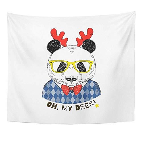 Tapisserie Polyester Stoff Print Home Decor hübsch Porträt von Panda Boy in Argyle Pullover und Weihnachten Hirsch Hörner Wandbehang Tapisserie für Wohnzimmer Schlafzimmer Dorm Verkleidet