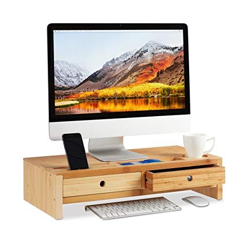 Relaxdays Monitorständer Bambus, Bildschirmerhöhung mit 2 Schubladen & Fächern, Bildschirmständer HBT 14x60x30cm, Natur