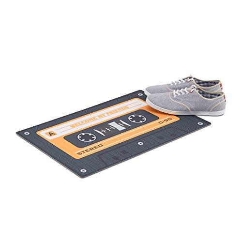 Retro, Türmatte rutschfest als Audio-Kassette, Schmutzfänger Innenbereich, Tape, PVC, 40x60cm, schwarz/orange (Kassetten-fußmatte)