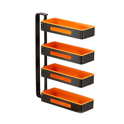 Küchenregal Vier-Tier Aluminium Abfluss drehbare Gewürz Wand-montiert Multi-Funktion Lagerung Haushalt frei Stanzen 35cm * 13cm * 59.4cm CHENGYI (Color : Black orange)
