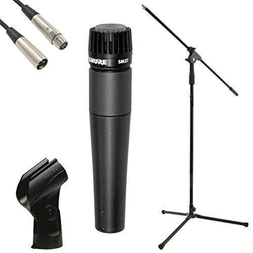 Preisvergleich Produktbild Shure SM57-LC dynamisches Mikrofon,  JB 's Mikrofon Ständer,  JB 's 6 m XLR-XLR-Kabel,  und Mikrofon Clip Paket