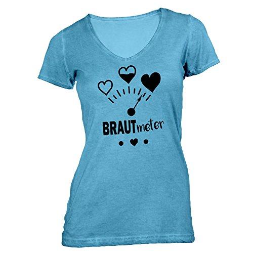 Damen T-Shirt V-Ausschnitt - Junggesellenabschied - BRAUT Meter Herzen - JGA Polterabend Junggesellen Hellblau