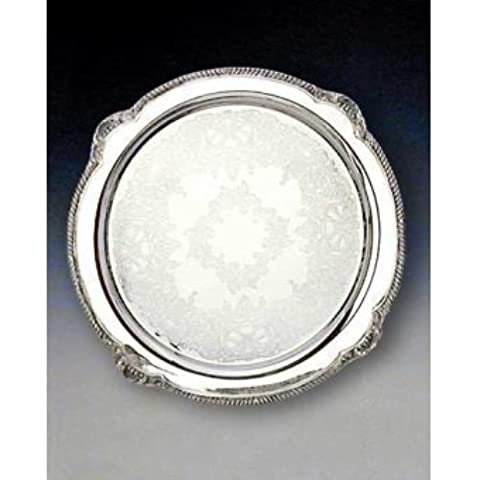 Reed & Barton Shell and Gadroon Round Tray, 15-Inch by Reed & Barton