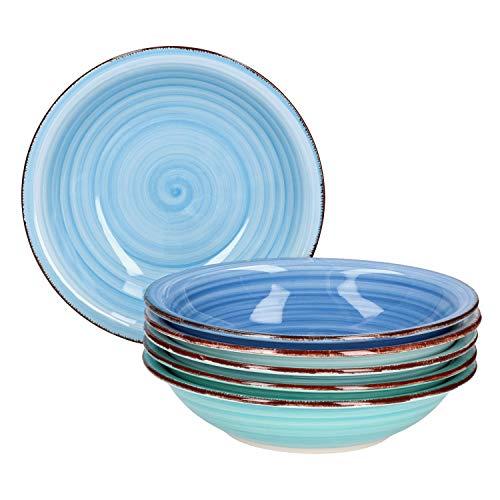 MamboCat Teller-Set Blue Baita für 6 Personen | Suppenteller tief | 750 ml | Salat-Teller | runde Servier-Schale | Steingut-Schüssel | handbemalt | Mehrfarbig