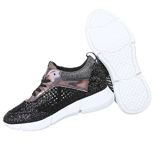 Damen Freizeitschuhe Schuhe Sneaker Sportschuhe schwarz Gold Silber 36 37 38 39 40 41 Schwarz