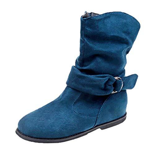 VJGOAL Damen Stiefel, Damen Vintage Style Flock Zipper Weichen Winter warme Flache Slip on Schuhe Set Füße Knöchel Mittlere Stiefel (Blau, 42 EU)