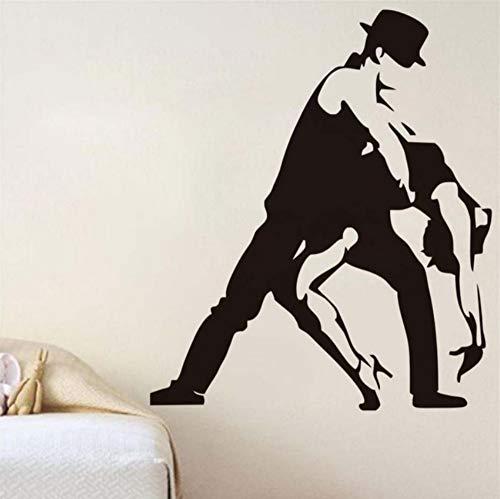(Tango Latin Dance Passion Wandaufkleber Schwarz Silhouette Großhandel Wohnzimmer Abnehmbare Wohnkultur Aushöhlen Vintage Wandtattoo 58x68cm)
