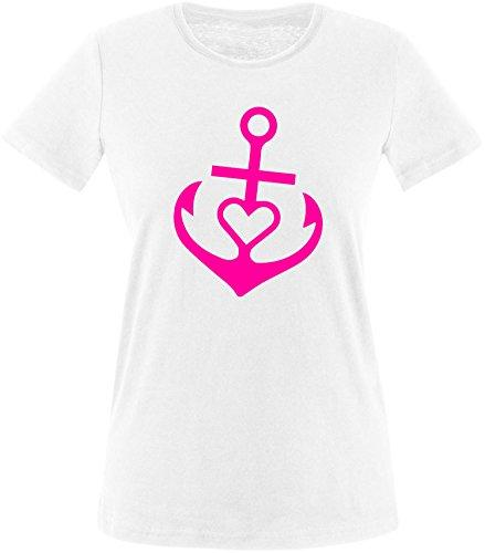 EZYshirt® Anker mit Herz Damen Rundhals T-Shirt Weiss/Neonpink