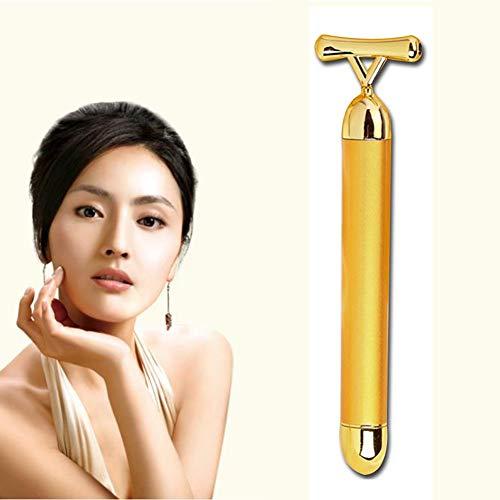 Preisvergleich Produktbild 24K Gold 3D Wheel Electric Gold Bar T Type Black Gallstone Waterproof Lifting Firming Face-Lift Wrinkles Beauty Massage Instrument
