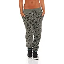 malito Damen Sweathose mit Star Print   Baggy zum Tanzen   Jogginghose mit  Knopfleiste   Sweatpants fb566a4387