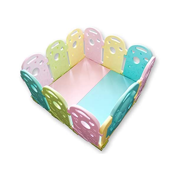 Baby Playpen - Children'S Safety Toys Crawling Mat - Activity Center - Environmental Hdpe - Suitable For 0-6 Children-11 Activity Panel - Rugged - Waterproof  ♥ You can use and combine all the fences to create entertainment for your child anywhere in the home. ♥ It can be changed into different shapes. You can change the frame according to your baby's preferences and bring a different feeling every day. ♥ Can be used as a fence or protective barrier, flexible mounting options, very simple assembly and unlimited scalability. 1