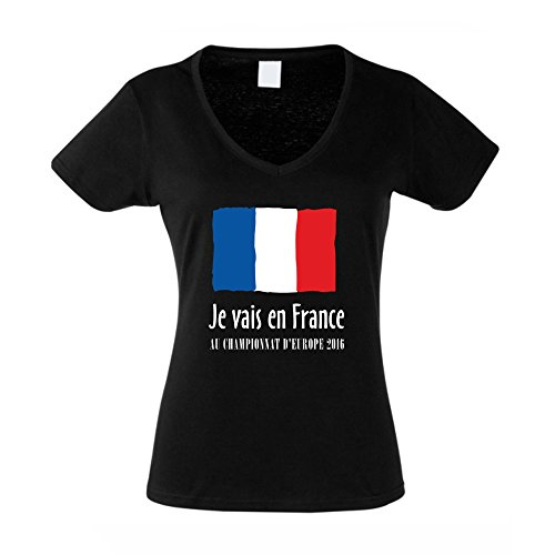 EM Damen T-Shirt V-Neck - Je vais en France - Au championnat d'Europe 2016 - von SHIRT DEPARTMENT Schwarz-Rot