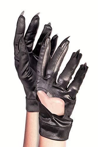 (shoperama Schwarze Handschuhe mit Herzausschnitt und Krallen Kostüm-Zubehör Katze)