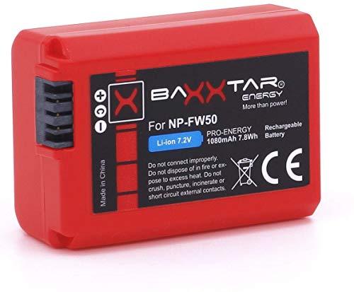 Baxxtar Pro - Ersatz für Akku Sony NP-FW50 (echte 1080mAh) mit Infochip - für Sony Alpha 5000 5100 6000 6300 6500 NEX 3 5 6 7 Alpha 7 7II 7S A33 A35 A37 A55 A3000 CyberShot DSC RX10 usw.