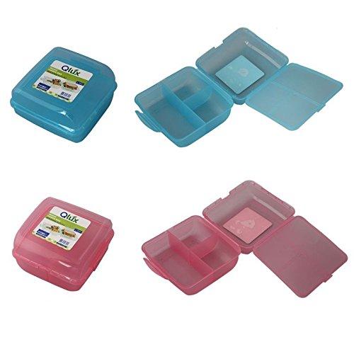 4-Fach Brotdose Brotbox Lunchbox Frühstücksbüchse Pausenbrotdose Brotzeitdose Dose (Blau)