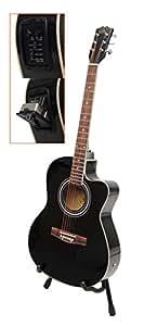 Ts-ideen 4570 Guitare folk électro-acoustique avec Micros 4 bandes EQ/Etui rembourré/Sangle/Corde/Diapason à bouche Noir
