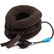 Andux Zone Portátil Completo de Terciopelo a Tres Niveles Monotubo Domésticos Aire/Pulsador Cuello Cervical Hinchable Collarín Cervical Dispositivo de Tracción Masajeador Cuello gris